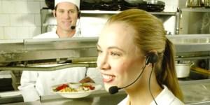 Restaurant Server Wearing Earpiece