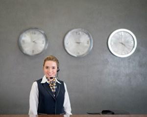 Hospitality Worker Wearing Earpiece